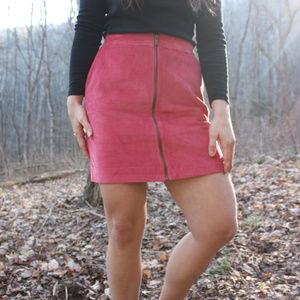 Corduroy hot pink zip-down miniskirt